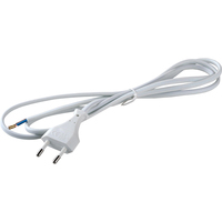 Volsten сетевой шнур ШВВП 2х0.75 1.5м 6А белый, плоская вилка, S-LRB (+)