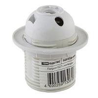 TDM патрон E27 пластик, люстровый с кольцом, термостойкий, белый 4А SQ0335-0008