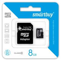 MicroSDHC  8GB Class10  SmartBuy с адаптером