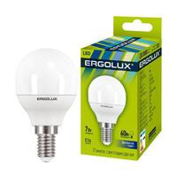 Лампа св/д Ergolux шар G45 E14 7W(580lm 220°) 6500K матов. 82x45 пластик/алюм. LED-G45-7W-E14-6K